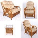Borneo Natural Cane Rattan Small 4 Piece Conservatory Suite. Sofa, 2 x Armchairs, Side Table