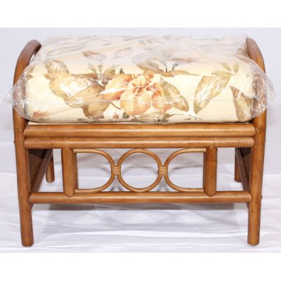 Brown Cane Rattan Footstool Padstow Plus Lucia Autumn cushion
