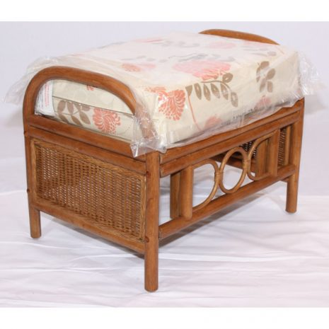 Padstow Brown Cane Rattan Footstool Padstow Plus Tavistock Terracotta cushion