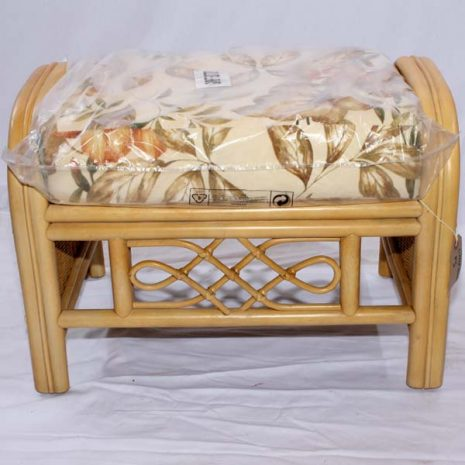 Cane Rattan Conservatory Footstool Little Gem Natural plus luxury cushion Front view