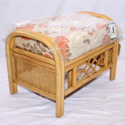 Cane Rattan Conservatory Footstool Little Gem Natural plus luxury Tavistock Terracotta cushion