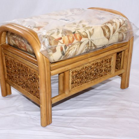 Conservatory Footstool plus Cushion - Rock Natural Cane Rattan