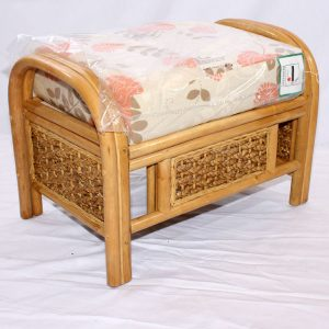 Rock Natural Cane Rattan Conservatory Footstool plus Cushion
