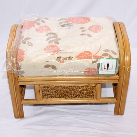 Conservatory Footstool plus Cushion - Rock Natural Cane Rattan - From above
