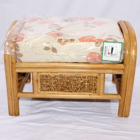 Conservatory Footstool plus Cushion - Rock Natural Cane Rattan Front view