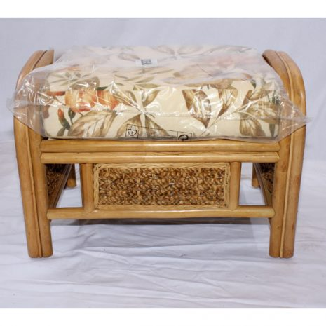 Conservatory Footstool plus Cushion - Rock Natural Cane Rattan - Front view