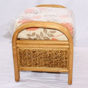 Conservatory Footstool plus Cushion - Rock Natural Cane Rattan - Side view