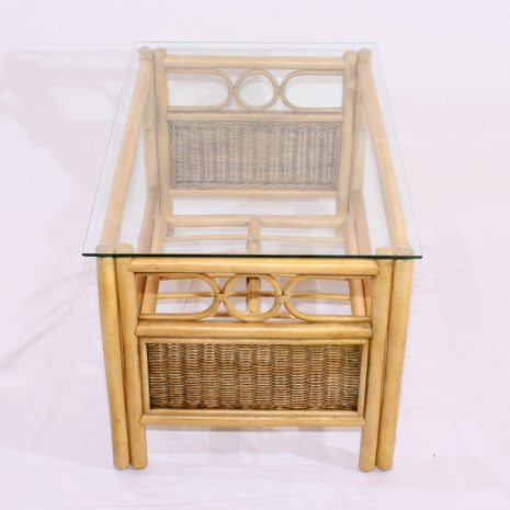Emerald Natural Cane Rattan Conservatory Coffee Table Glass Top