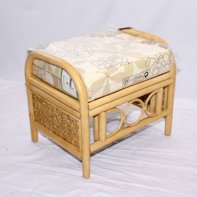 Emerald Natural Cane Rattan Conservatory Footstool