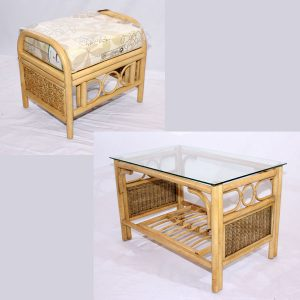 Emerald Natural Cane Rattan Conservatory Footstool Coffee Table Set