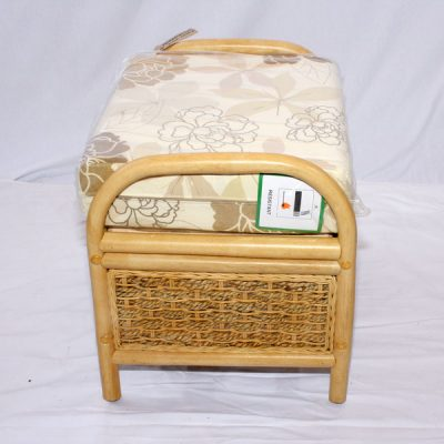 Emerald Natural Cane Rattan Conservatory Footstool Side View