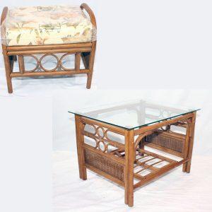 Ganessa Brown Cane Rattan Coffee Table Footstool Set
