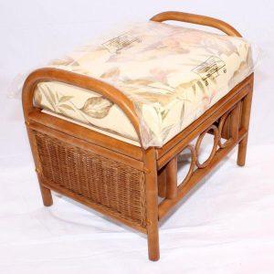 Ganessa Brown Cane Rattan Conservatory Footstool plus Luxury Cushion