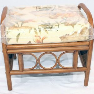 Ganessa Brown Cane Rattan Footstool plus Luxury Cushion Front view