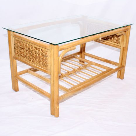 Glass Top Conservatory Coffee Table - 'Rock' Natural Cane Rattan