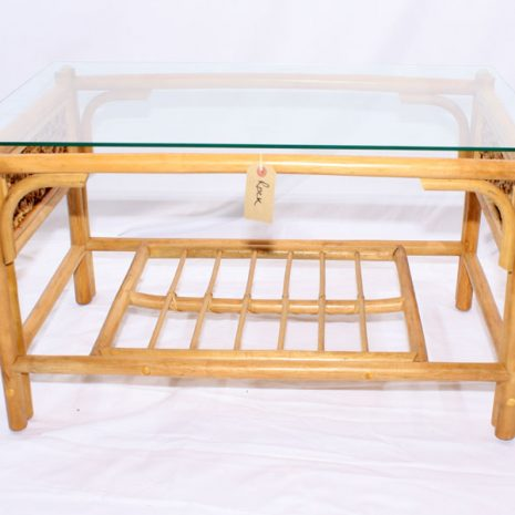 Glass Top Conservatory Coffee Table - 'Rock' Natural Cane Rattan Front View