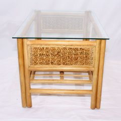 Glass Top Conservatory Coffee Table - 'Rock' Natural Cane Rattan Side View