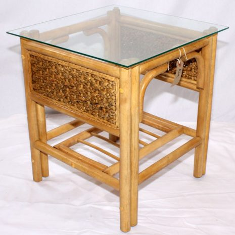 Glass Top Conservatory Side Table - 'Rock' Natural Cane Rattan