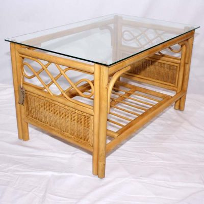 Little Gem Natural Cane Glass Top Coffee Table - Three quarter view