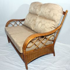 Osbourne Conservatory 2 Seater Sofa Brown Cane Rattan plus Luxury Cushions