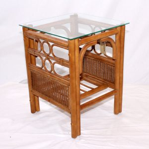 Padstow Conservatory Side Table Brown Cane Rattan Glass Top