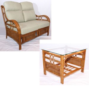 Quartz Brown Cane Rattan Conservatory Sofa Coffee Table Set