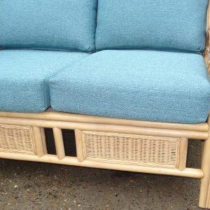 Quartz Natural Cane Small Rattan Conservatory Sofa Plus Luxury Cushions – Save over £100