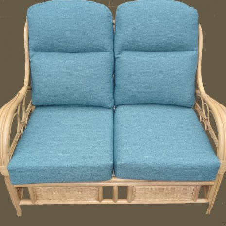 Quartz Natural Cane Rattan Conservatory Sofa Teal Cushions - front view