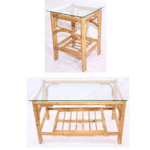 Queen Natural Cane Conservatory Table Set