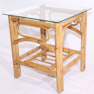 Queen Side Table Natural Cane Glass Top