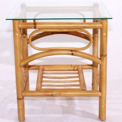 Queen Natural Cane Glass Top Side Table