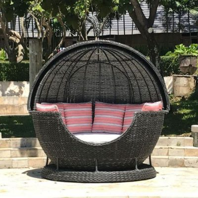 Rye Dark Rattan Apple Day Bed Garden Lounger