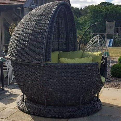 Rye Dark Rattan Apple Day Bed Garden Lounger