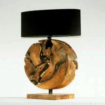 Sagano Teak Root Round Table Lamp plus shade
