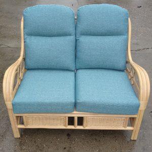 Quartz Natural Cane Rattan 2 Seater Conservatory Sofa Teal Cushions