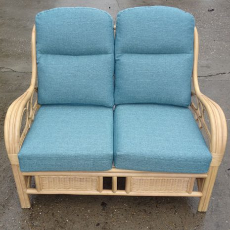 Quartz Natural Cane Rattan 2 Seater Conservatory Sofa Teal Cushions