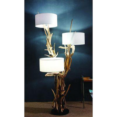 Negara Teak Root Triple Shade Floor Lamp