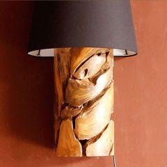 Tijuca Reclaimed Teak Root Wall Lamp plus shade