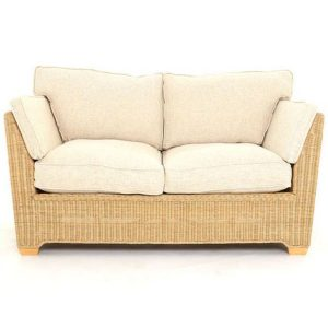 Skipton 2 Seater Natural Rattan Sofa Front view