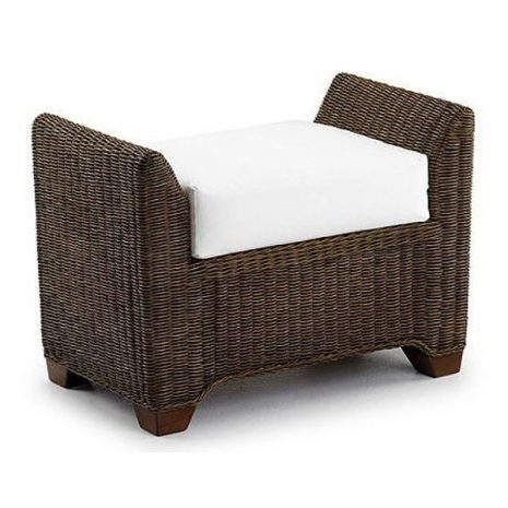 Skipton Brown Rattan Footstool. Skipton Natural Rattan Footstool