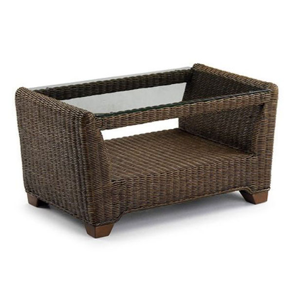 Wicker Coffee Table Indoor Uk: Rattan Glass Top Coffee Table