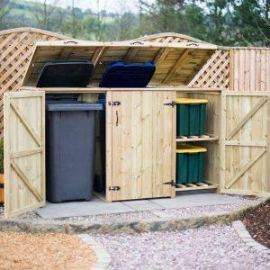Double Wheelie Bin - Recycling Box Store - doors open