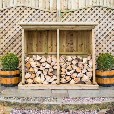 Double Wooden Garden Log Store - front