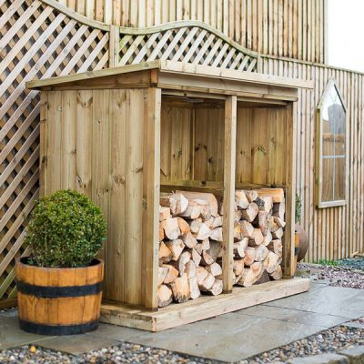 Double Wooden Garden Log Store - side view