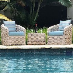 Poole Rattan Garden Chair Set Plus Outdoor Cushions