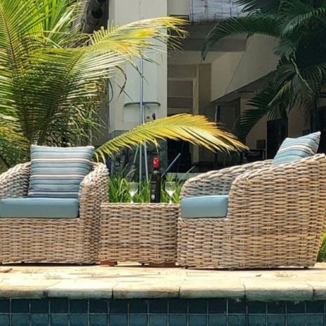 Poole Rattan Garden Chair Set Plus Outdoor Cushions Side View