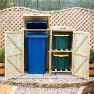 Single Wheelie Bin - Recycling Box Store doors open