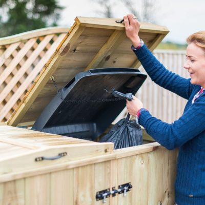 Superior Double Wheelie Bin Storage Unit Opening Lids