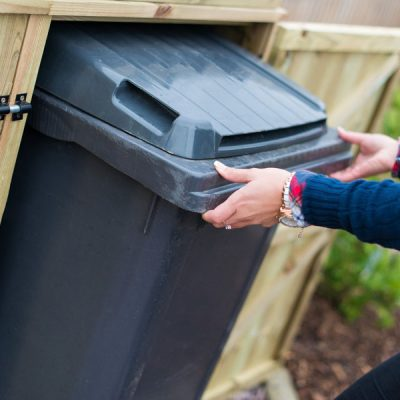 Superior Double Wheelie Bin Storage Unit easy access close up