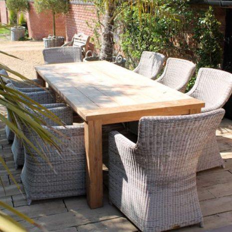 Tennyson 200cm Rectangular Sustainable Teak Table 8 Chair Dining Set